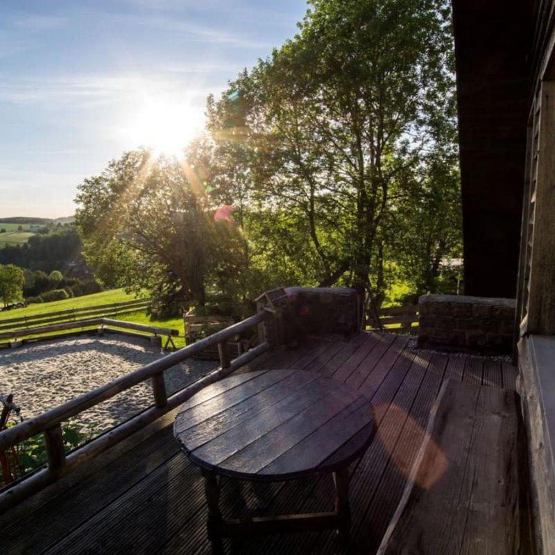 Terrasse mit Weitblick über Pobershau.