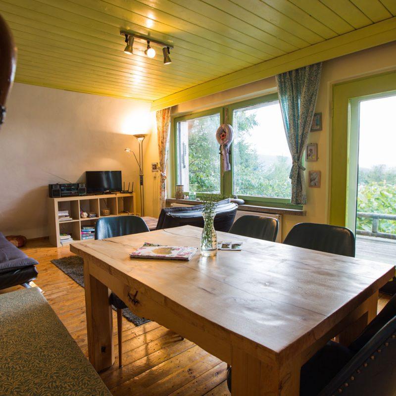Wohnzimmer mit Blick ins Grüne.